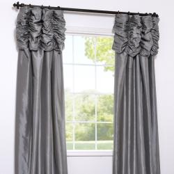 Exclusive Fabrics Platinum Embroidered Ruched Faux Silk Taffeta Header Curtain Panel