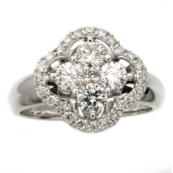 Beverly Hills Charm 14K White Gold 1ct TDW Diamond Clover Ring  (Size 7)