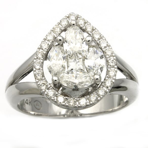 14k White Gold 1ct TDW Pear Shape Diamond Ring(Size 7)
