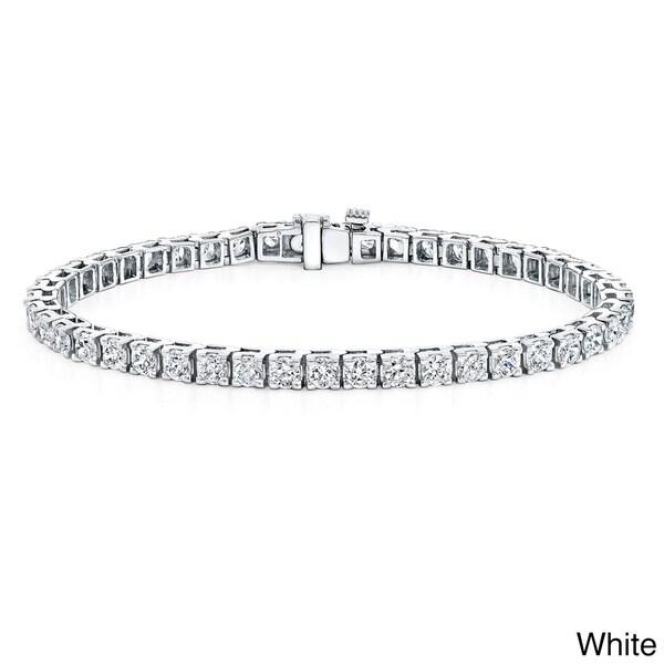 Auriya 14k Gold 10ct TDW Certified Round Diamond 9-inch Tennis Bracelet (J-K, I2-I3)