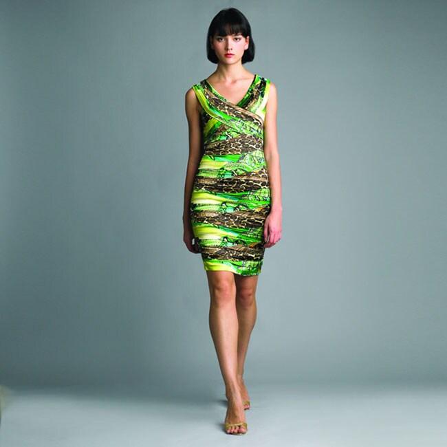 Issue New York Women's Green Animal Cross-front Dress