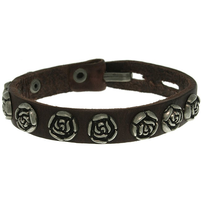 Carolina Glamour Collection Stainless Steel Brown Antiqued-finish Rose-studded Leather Bracelet
