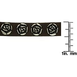 Carolina Glamour Collection Stainless Steel Brown Antiqued-finish Rose-studded Leather Bracelet - Thumbnail 2