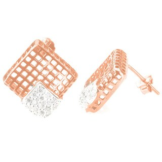 Collette Z Rose-plated Sterling Silver Cubic Zirconia Lace Design Square Earrings