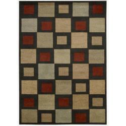 Nourison Vogue Black Geometric Rug ( 7'9 x 9'9 )