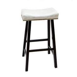 Antique Black 30-Inch Florence Bar Stool with Chamois Upholstered Seat - Thumbnail 1