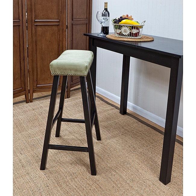 Antique Black 30-Inch Bar Stool with Apple Green Upholstered Seat