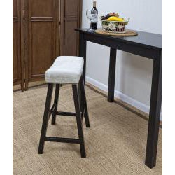 Antique Black 24-Inch Florence Counter Stool with Chamois Upholstered Seat - Thumbnail 1