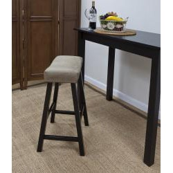Antique Black 24-inch Florence Counter Stool with Mocha Upholstered Seat - Thumbnail 1