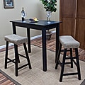 Antique Black 24-inch Florence Counter Stool with Mocha Upholstered Seat