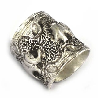 Handmade Karen Hill Tribe Sterlling Silver Jungle Elephant Family Ring (Thailand)