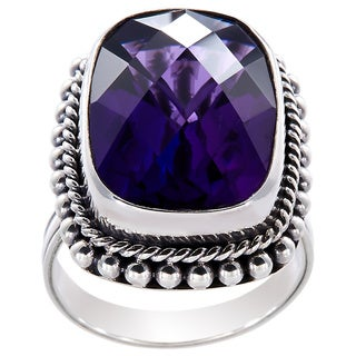 Handmade Sterling Silver Amethyst Bead Edge Bali Ring (Indonesia) - Purple