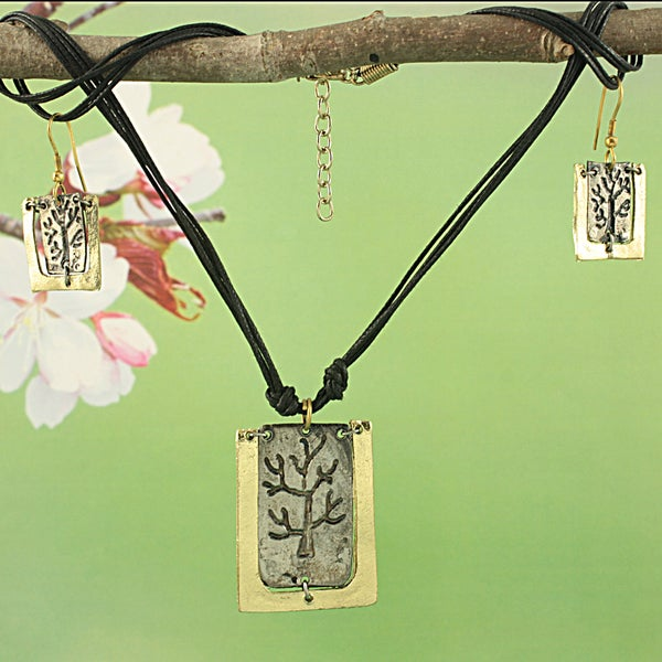Handcrafted Brass Tree of Life Earring and Necklace Set (India)