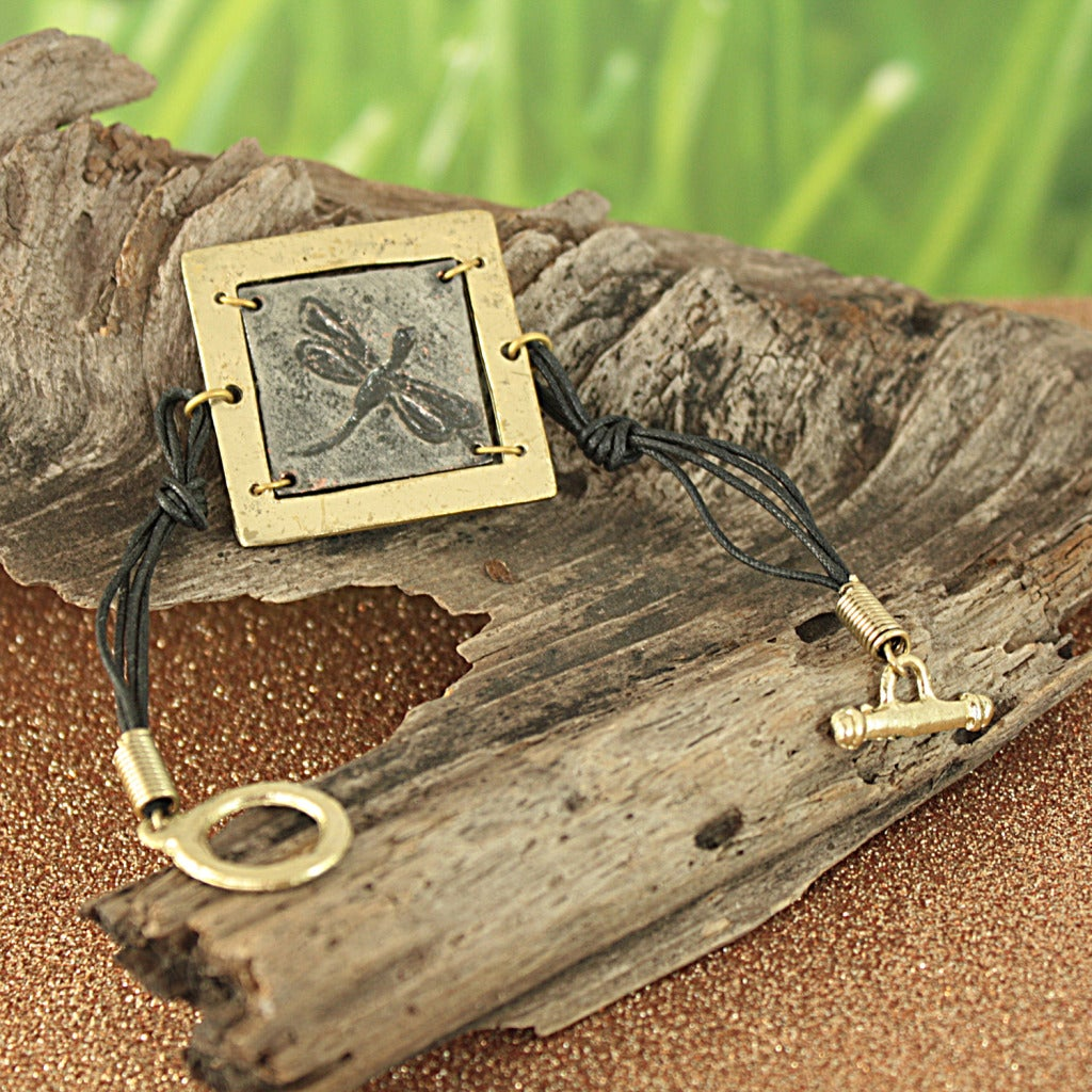 Handcrafted Pewter and Brass Dragonfly Toggle Bracelet (India)