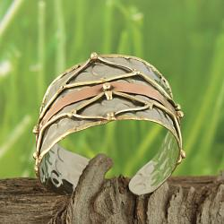 Handcrafted Brass and Copper Mesh Asymmetric Cuff Bracelet (India) - Thumbnail 1
