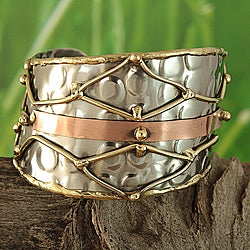 Handmade Brass and Copper Mesh Asymmetric Cuff Bracelet (India)