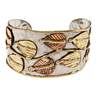 Handmade Brass and Copper Stainless Steel Hammered Cuff Bracelet (India) (More options available)