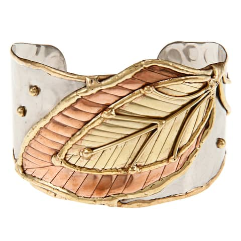 Handmade Brass and Copper Stainless Steel Hammered Cuff Bracelet (India)