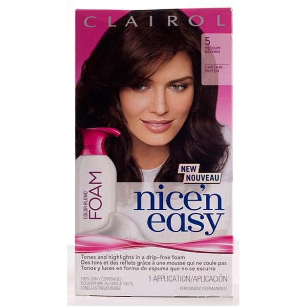 Clairol Nice'n Easy Foam #5 Medium Brown Hair Color (Pack of 4)