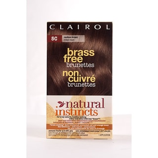 Clairol Natural Instincts Brass Free Brunettes # 5C Medium Brown Hair Color (Pack of 4)