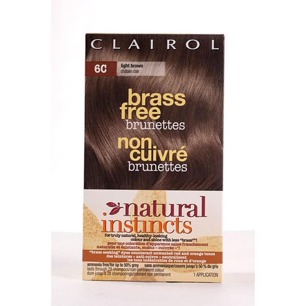 Clairol Natural Instincts Brass Free Brunettes #6C Light Brown Hair Color (Pack of 4)
