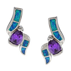 La Preciosa Sterling Silver Purple CZ and Created Blue Opal Earrings