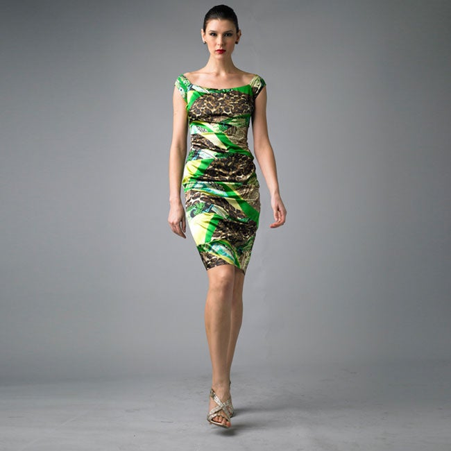 Issue New York Women's Green Animal Ruched Cap-sleeve Dress