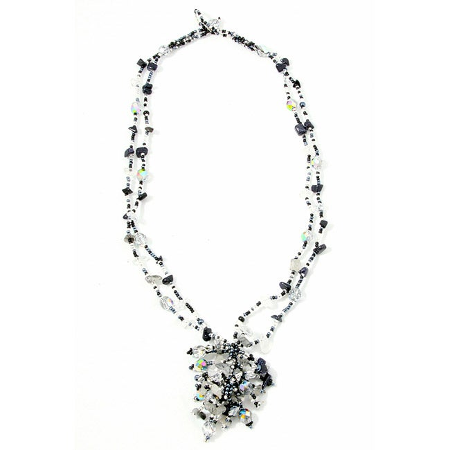 Handmade Onyx and Crystal 'Salt and Pepper' Roxana Bead Necklace (Guatemala)