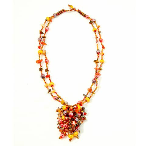 Handmade Tiger's Eye and Coral 'Roxana' Bead Necklace (Guatemala)