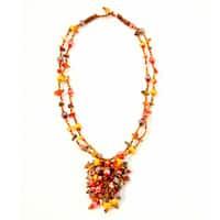 Handmade Tiger's Eye and Coral 'Roxana' Bead Necklace (Guatemala)
