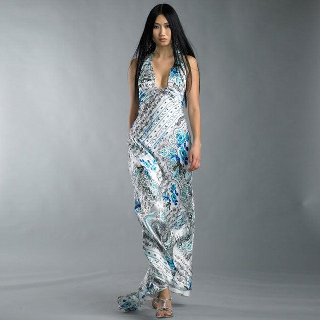 Issue New York Women's Silk Printed Halter Gown