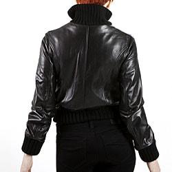 United Face Womens Black Lambskin Leather Bomber Jacket - Thumbnail 1