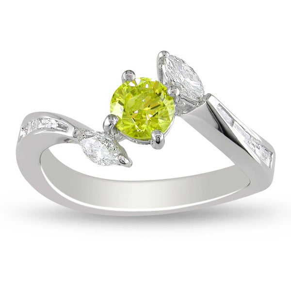 Miadora 14k Gold 1ct TDW Yellow and White Diamond Ring