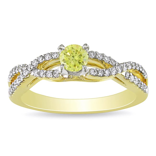 Miadora 14k Yellow Gold 1/2ct TDW Yellow and White Diamond Ring
