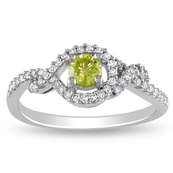 Miadora 14k Gold 1/2ct TDW Yellow and White Diamond Halo Ring