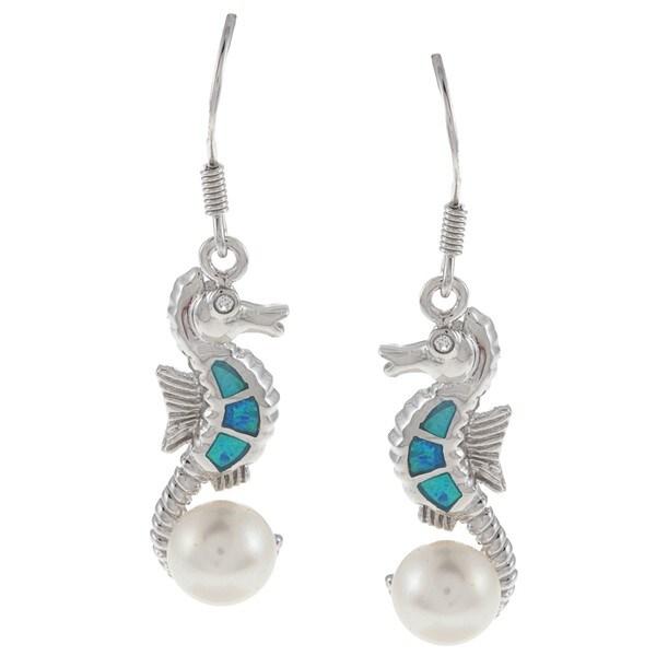 La Preciosa Sterling Silver Faux Pearl, CZ and Created Blue Opal Earrings