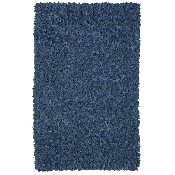Hand-tied Pelle Blue Leather Shat Rug (8' x 10') - 8' x 10'