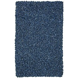 Hand-tied Pelle Blue Leather Shat Rug (8' x 10')
