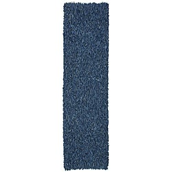 Hand-tied Pelle Blue Leather Shag Rug (2' 6 x 12')