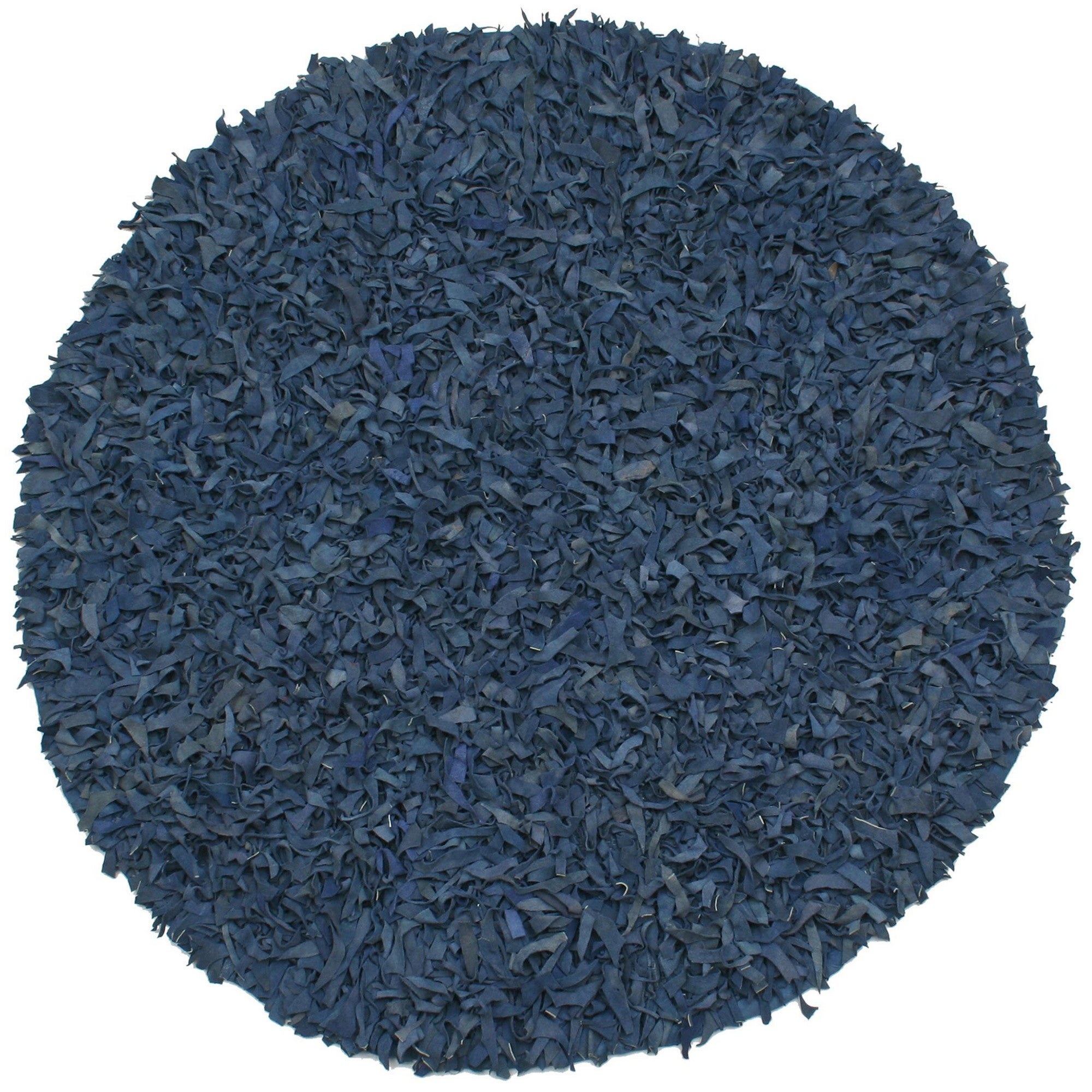 St. Croix Hand-tied Pelle Blue Leather Shag Rug (4' Round...