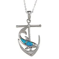 La Preciosa Silver Created Blue Opal and CZ Dolphin and Anchor Necklace