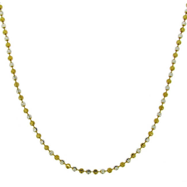 Two-tone Diamond-cut Moon Bead Chain