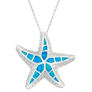 Link to La Preciosa Sterling Silver Created Blue Opal Starfish Necklace Similar Items in Necklaces