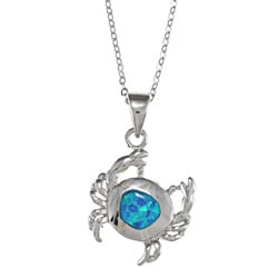 La Preciosa Sterling Silver Created Blue Opal Crab Necklace