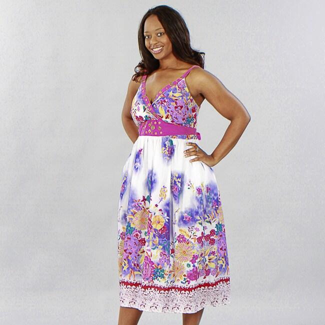 Magic Women Plus Size 2x Maxi Long Summer Sun Dress Floral Pink Yellow