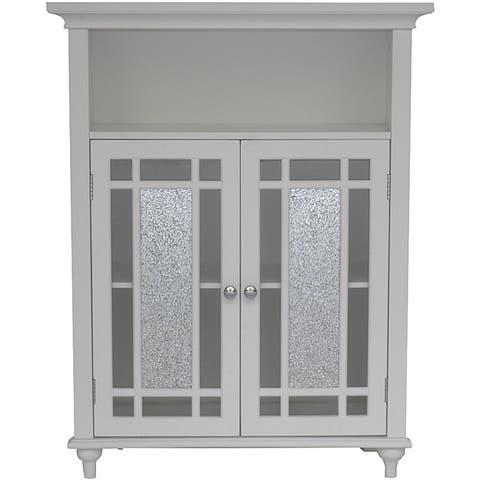 Essential Home Furnishings Jezzebel White Wood and Silver Mosaic Glass Double Door Floor Cabinet