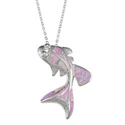 La Preciosa Sterling Silver Created Pink Opal Fish Necklace