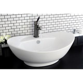 Oval Vitreous China White Bathroom Vessel Sink