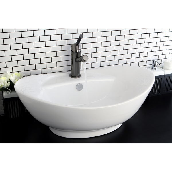 Oval Vitreous China White Bathroom Vessel Sink - Free Shipping Today ...