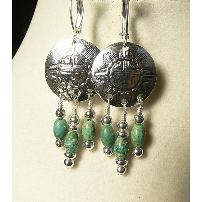 Silvertone Turquoise 'Chantico' Earrings